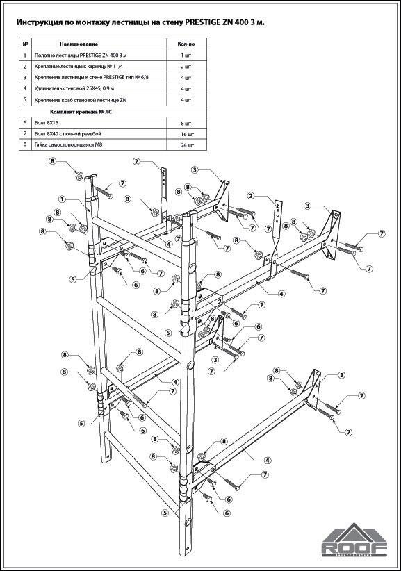 Схема монтажа стеновой лестницы
