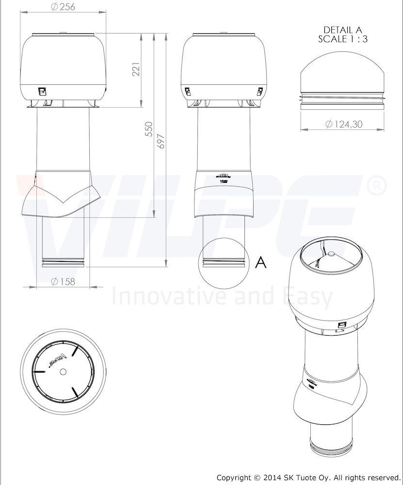 Вентиляционный выход 125/ИЗ/500 Vilpe