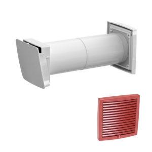 Приточный клапан с термостатом Vilpe WIVE 100 с красной решеткой