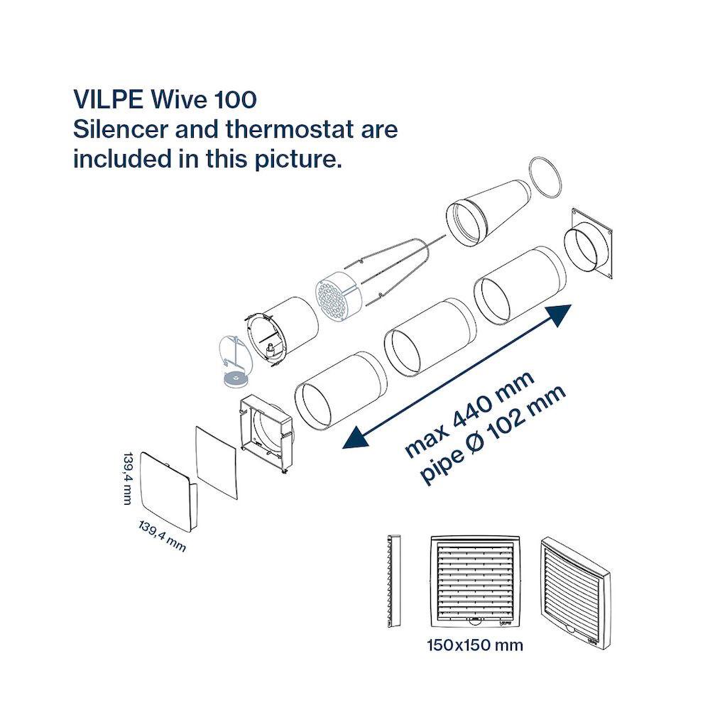Приточный клапан с термостатом Vilpe WIVE 100